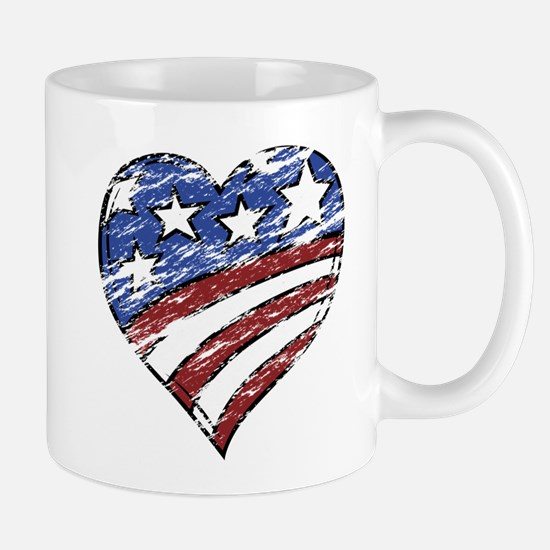 Distressed American Flag Heart Mugs