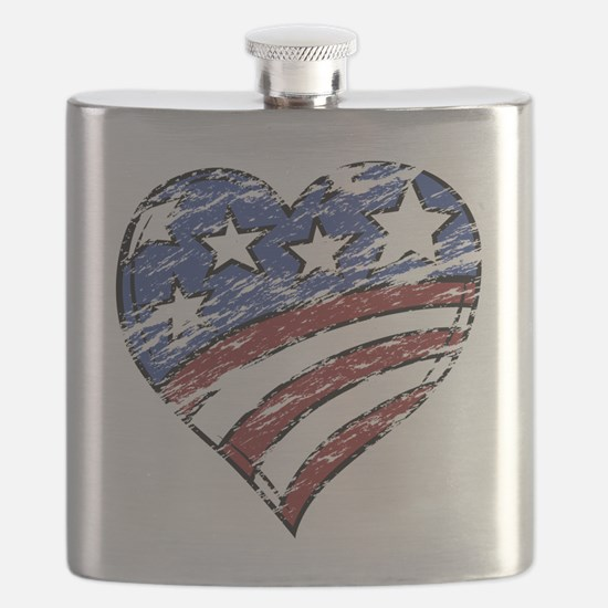 Distressed American Flag Heart Flask