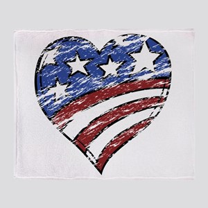 Distressed American Flag Heart Throw Blanket