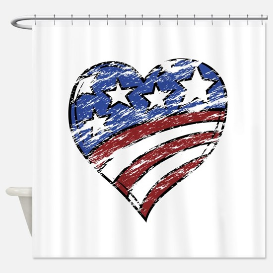 Distressed American Flag Heart Shower Curtain