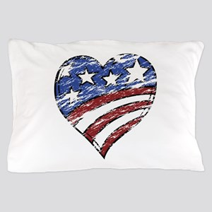 Distressed American Flag Heart Pillow Case