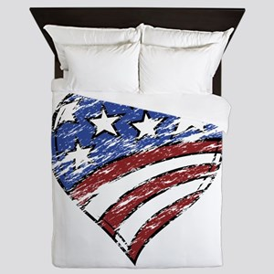 Distressed American Flag Heart Queen Duvet