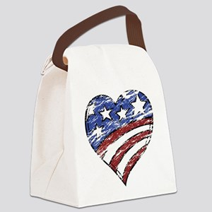 Distressed American Flag Heart Canvas Lunch Bag