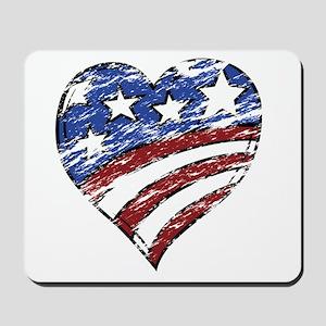 Distressed American Flag Heart Mousepad