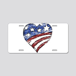 Distressed American Flag He Aluminum License Plate