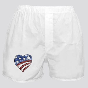 Distressed American Flag Heart Boxer Shorts
