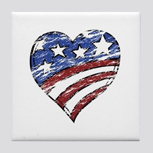 Distressed American Flag Heart Tile Coaster