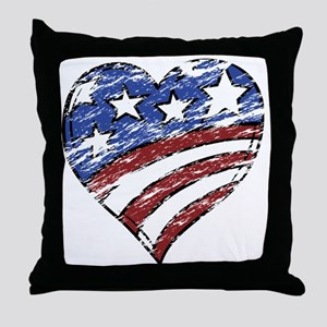 Distressed American Flag Heart Throw Pillow