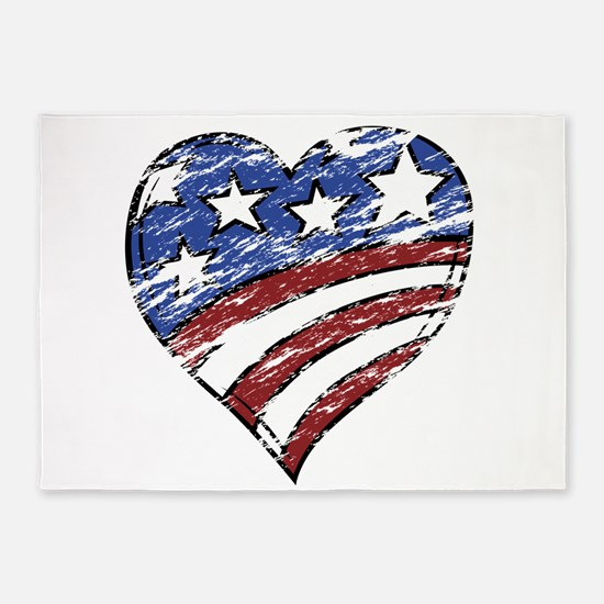 Distressed American Flag Heart 5'x7'Area Rug