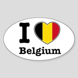 I love Belgium Oval Sticker