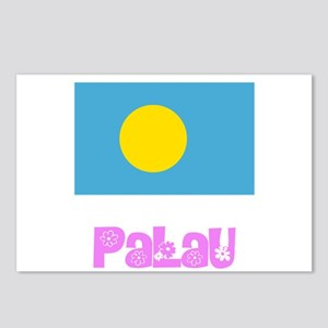 Palau Flag Pink Flower De Postcards (Package of 8)