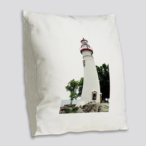 Marblehead Lighthouse Burlap Throw Pillow