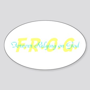 Yellow FROG Oval Sticker