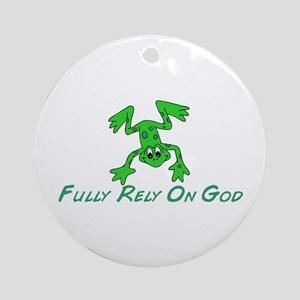 Green Cute Frog Ornament (Round)