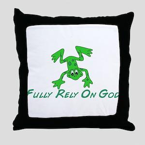 Green Cute Frog Throw Pillow