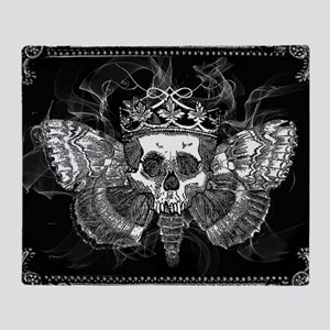 vintage mothman skull Throw Blanket