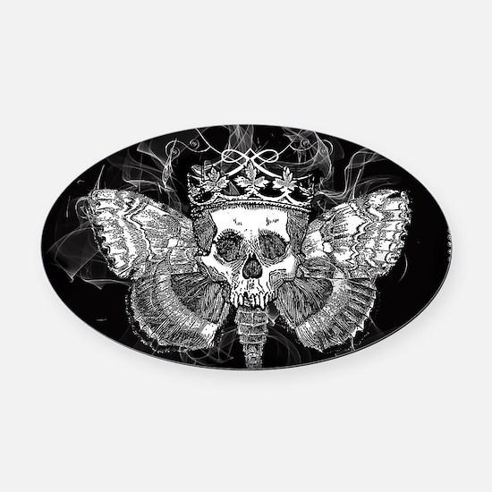 vintage mothman skull Oval Car Magnet