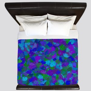 Peacock Color Splatters 4755 King Duvet