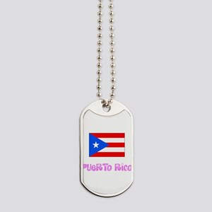 Puerto Rico Flag Pink Flower Design Dog Tags