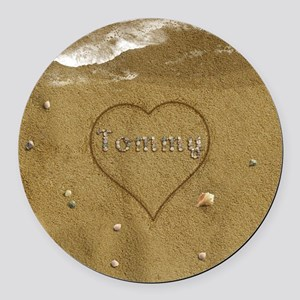 Tommy Beach Love Round Car Magnet