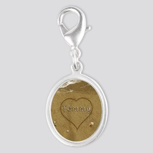 Tommy Beach Love Silver Oval Charm