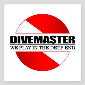 "Divemaster (rd) Square Car Magnet 3"" x 3"""