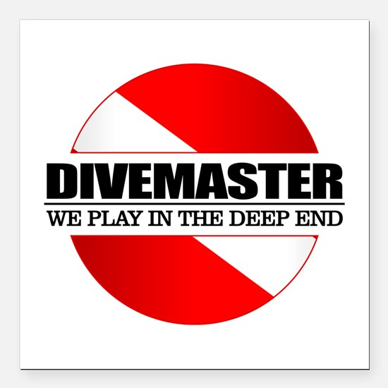 "Divemaster (rd) Square Car Magnet 3"" x 3"""