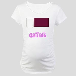 Qatar Flag Pink Flower Design Maternity T-Shirt