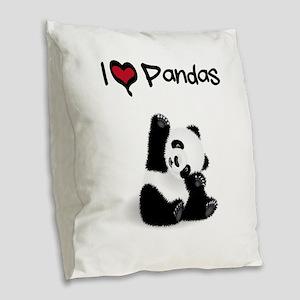 Baby Panda Burlap Throw Pillow