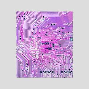 Circuit Board - Purple Throw Blanket