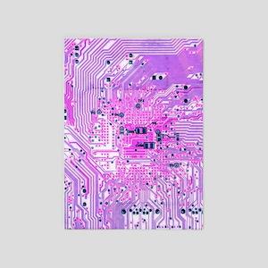 Circuit Board - Purple 5'x7'Area Rug