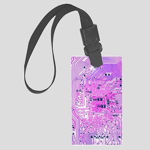 Circuit Board - Purple Large Luggage Tag