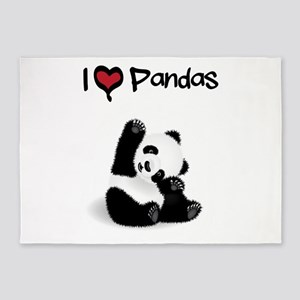 I Heart Pandas 5'x7'Area Rug