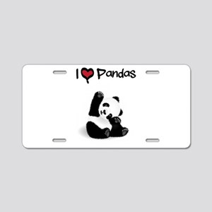 I Heart Pandas Aluminum License Plate