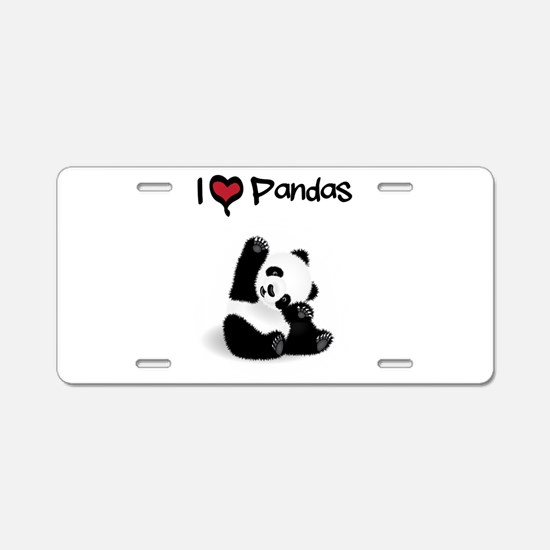 I Heart Pandas Aluminum License Plate