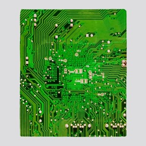 Circuit Board - Green Throw Blanket