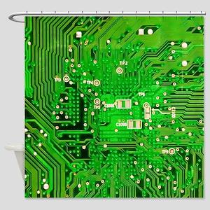 Circuit Board - Green Shower Curtain