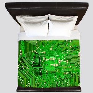 Circuit Board - Green King Duvet