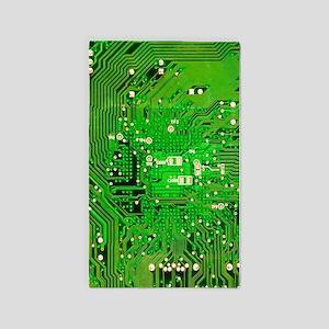 Circuit Board - Green 3'x5' Area Rug