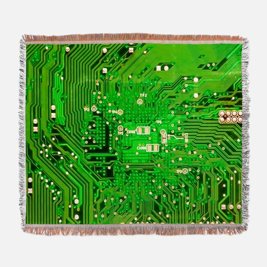 Circuit Board - Green Woven Blanket