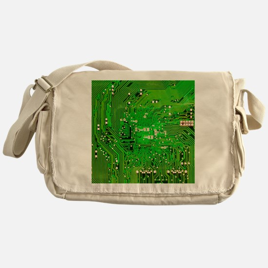 Circuit Board - Green Messenger Bag