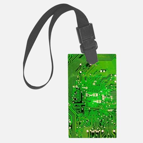 Circuit Board - Green Large Luggage Tag