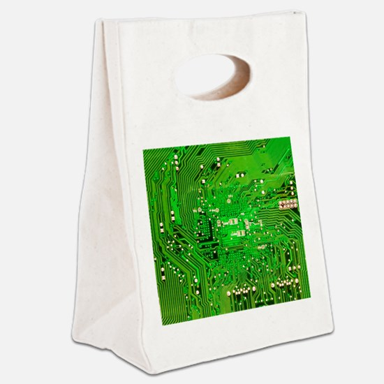 Circuit Board - Green Canvas Lunch Tote