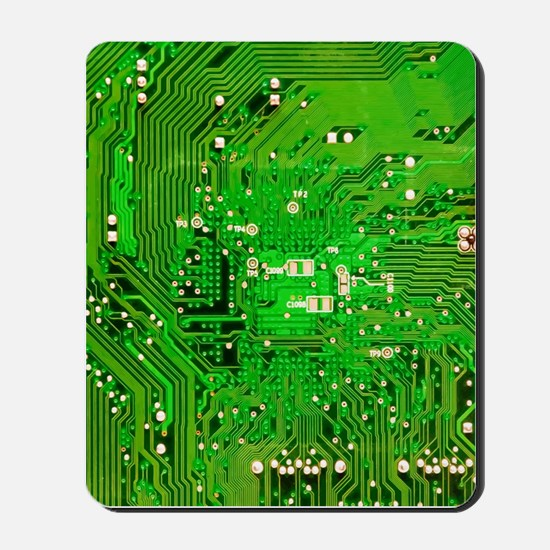 Circuit Board - Green Mousepad