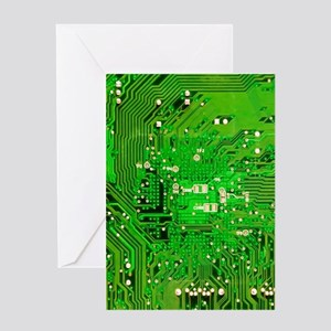 Circuit Board - Green Greeting Card