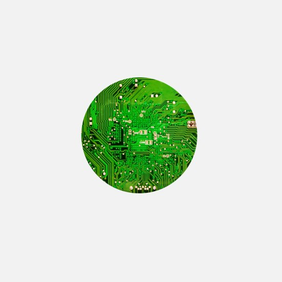 Circuit Board - Green Mini Button