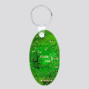 Circuit Board - Green Aluminum Oval Keychain