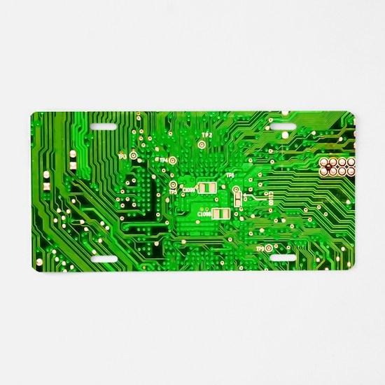 Circuit Board - Green Aluminum License Plate