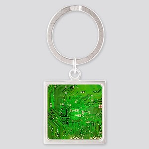 Circuit Board - Green Square Keychain
