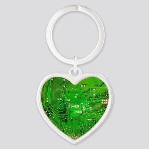 Circuit Board - Green Heart Keychain